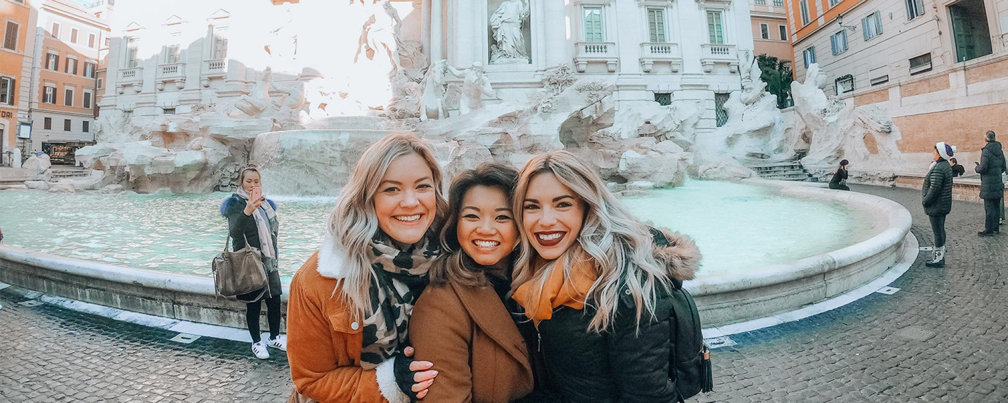 Women at Trevi Fountain